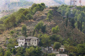 "A view of the so-called ""fortress houses"" on the town's steep slopes."