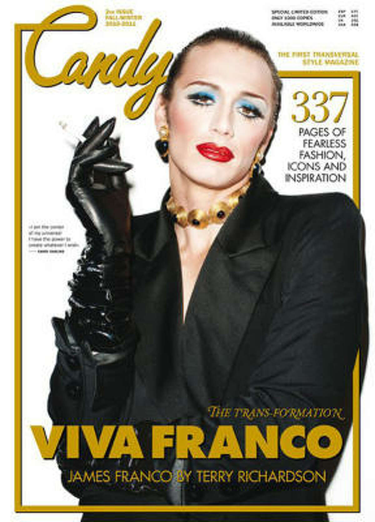 James Franco glammed up for a cover of Candy Magazine, described as