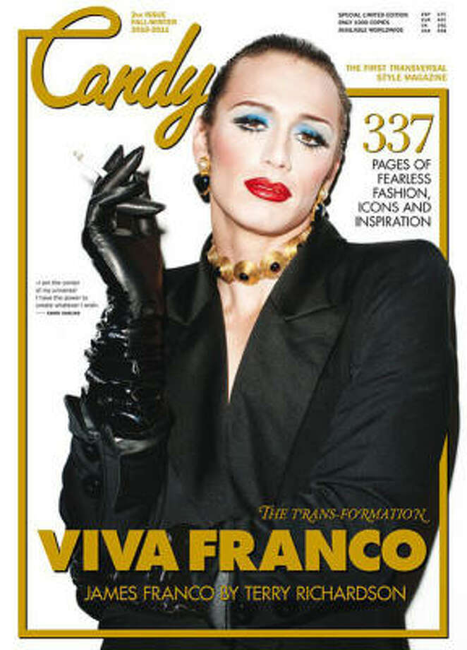 """James Francoglammed up for a cover of Candy Magazine, described as """"The first fashion magazine ever completely dedicated to celebrating transvestism, transexuality, cross dressing and androgyny, in all its manifestations."""" Photo: Handout"""