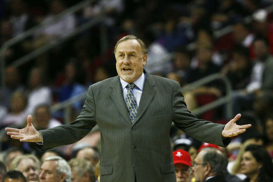 Rockets coach Rick Adelman is not a fan of the timing of the team's China trip, which is coming late in the preseason. Photo: Michael Paulsen, Chronicle