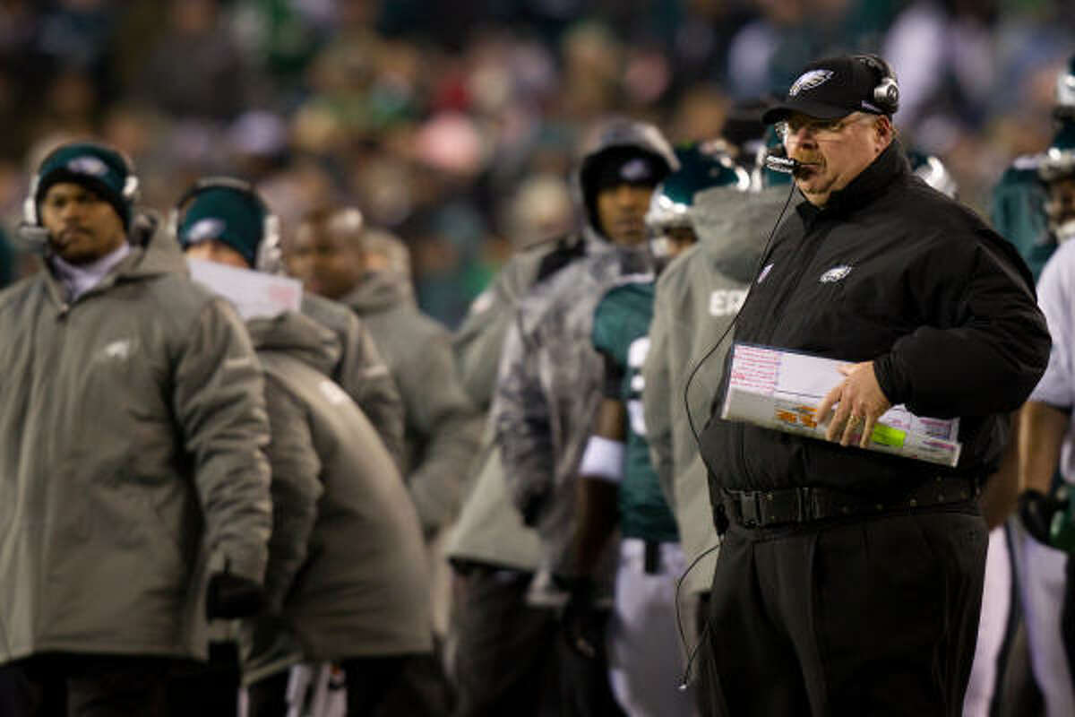 Philadelphia Eagles head coach Andy Reid watches his team on the opening scoring drive.