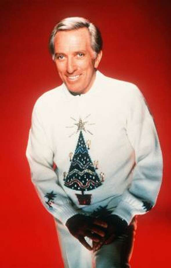 'Mr. Christmas' Andy Williams wears his tree-shirt and a big grin. Photo: AP