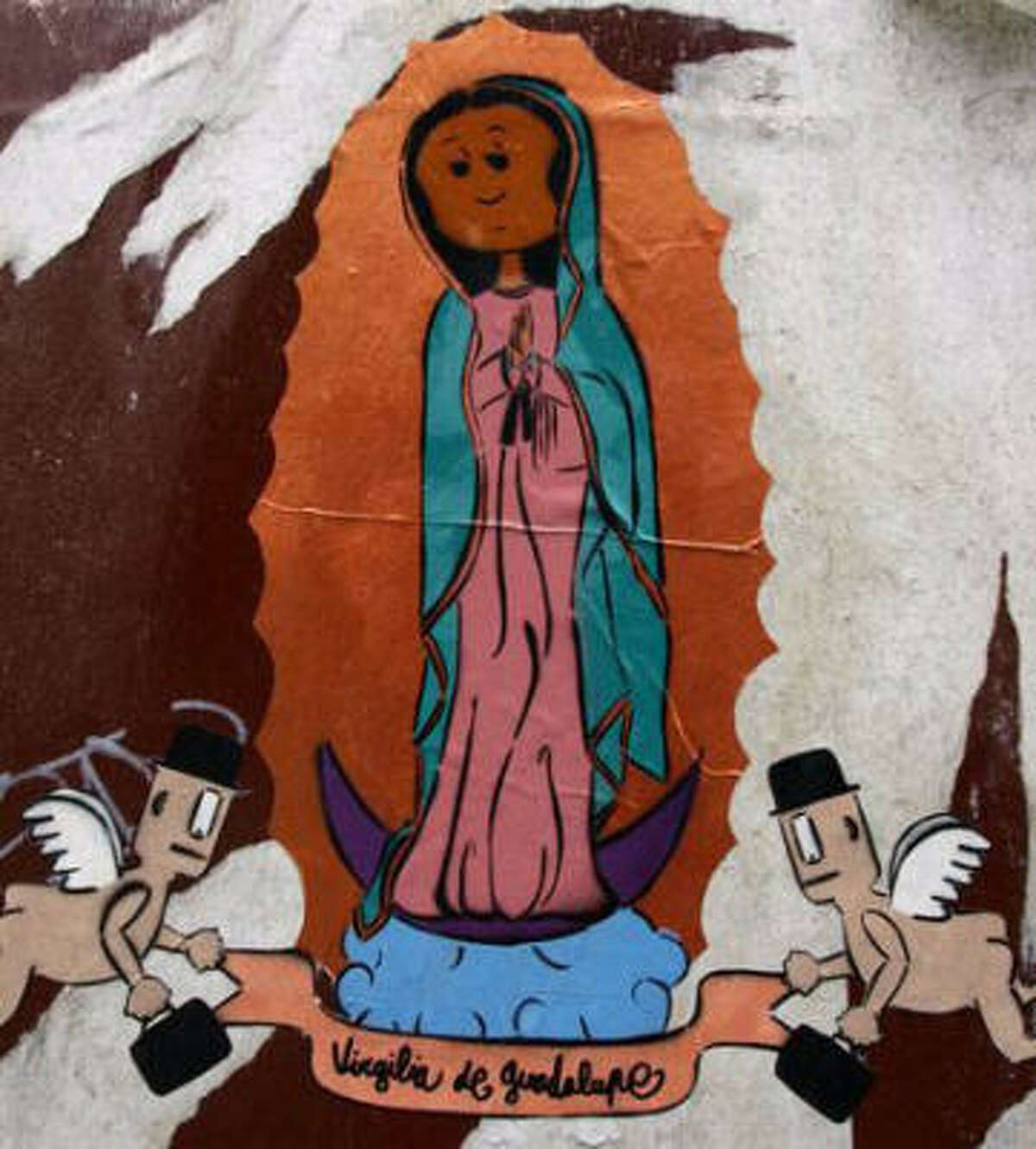 Our Lady of Guadalupe, seen here as graffiti, is popular among Catholics, Hispanics and young American hipsters.