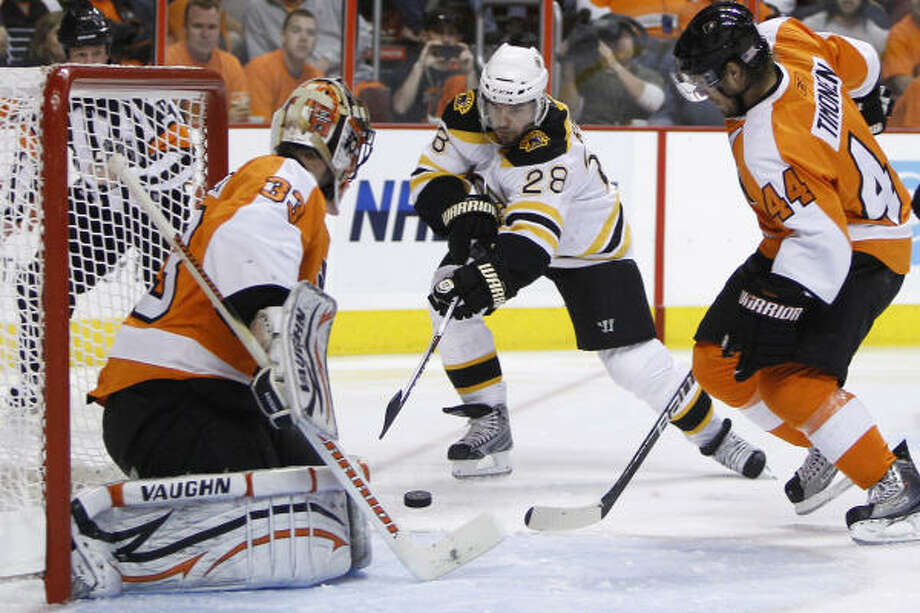 Boston Bruins' Mark Recchi, center, scores past Philadelphia Flyers' Brian Boucher, left. Photo: Matt Slocum, AP