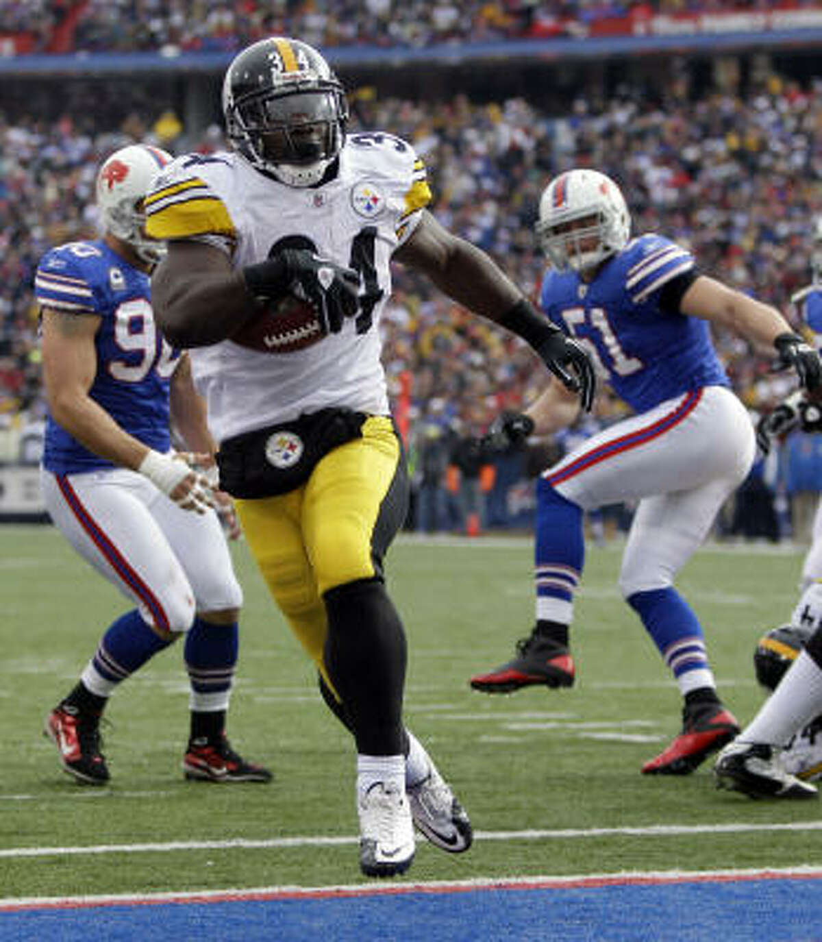 Steelers 19, Bills 16 (OT) Steelers running back Rashard Mendenhall (34) runs for a touchdown during the first half.