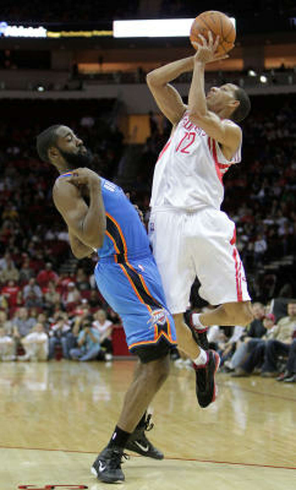 Thunder guard James Harden faces Rockets guard Kevin Martin.