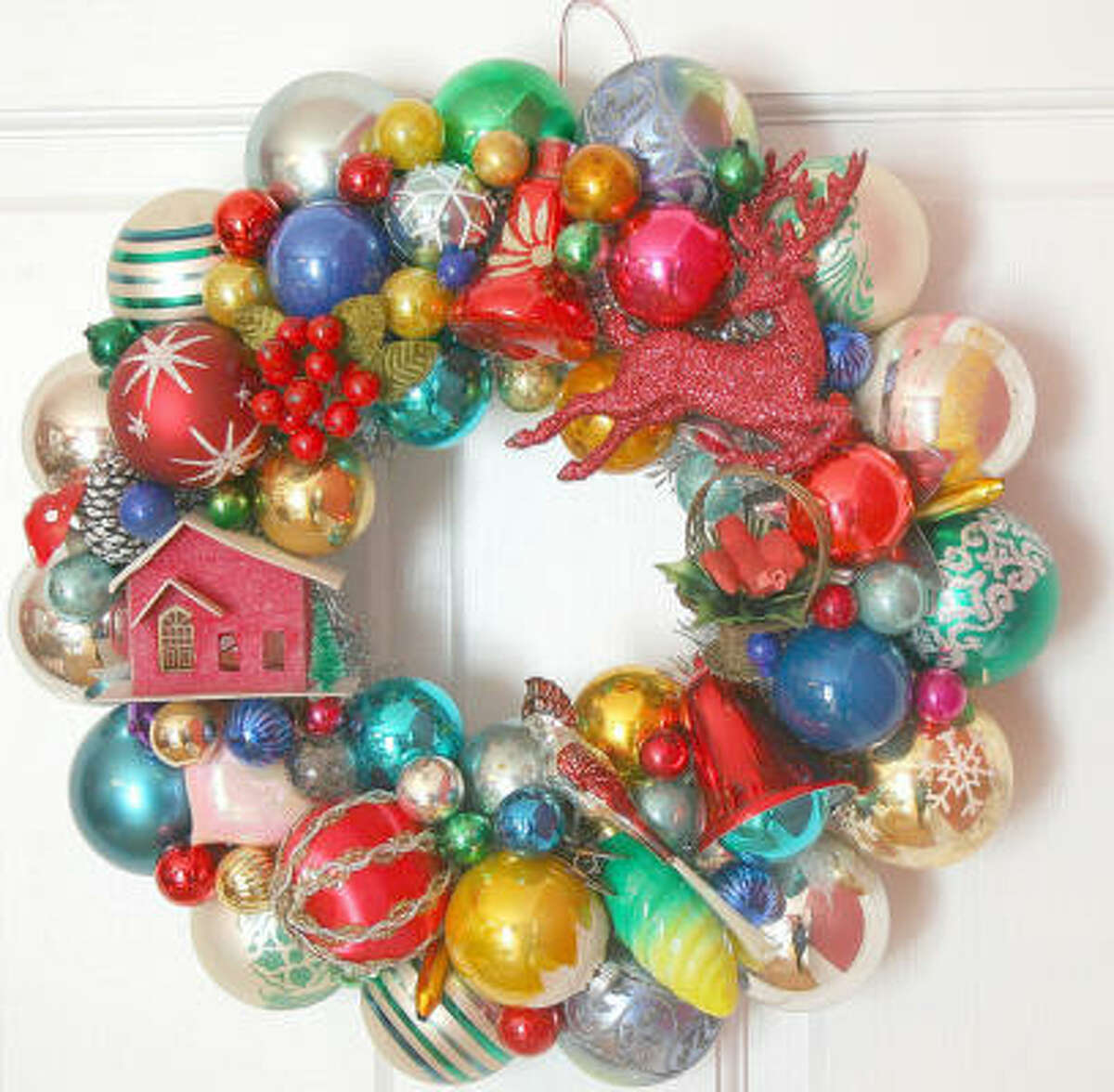 BUY: Wreaths covered in glass balls are trendy indoor decor. Here's one version from Martha Stewart Living.