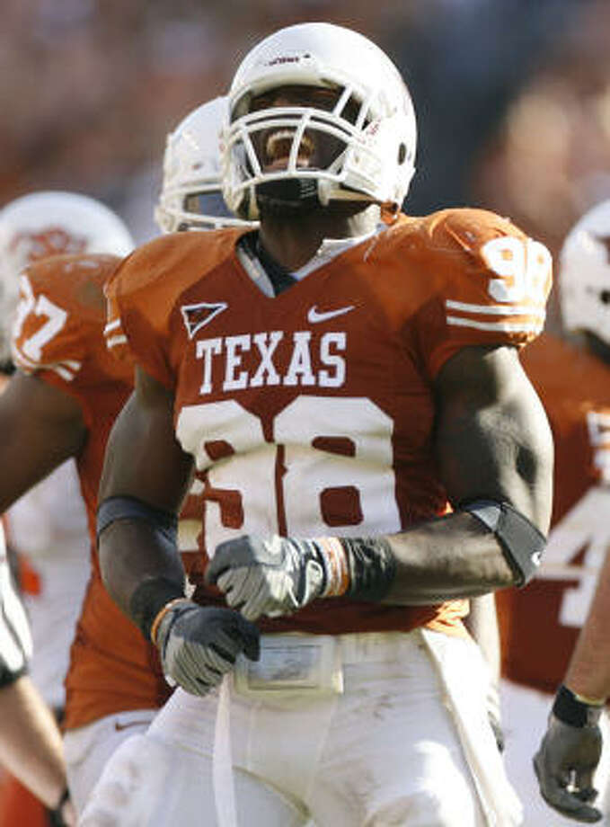 Here's Orakpo's mask from his career at Texas. He's come a long way. Photo: Julio Cortez, Chronicle