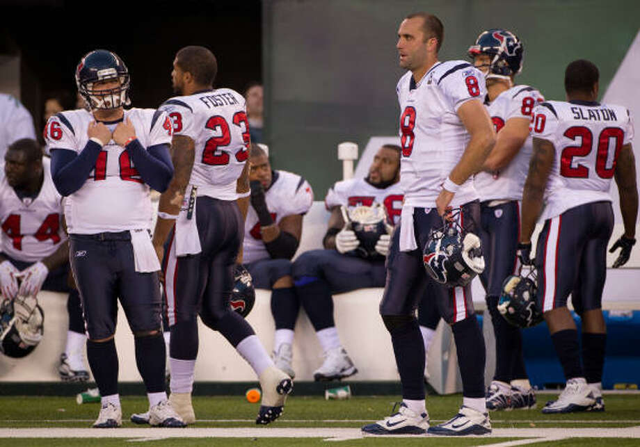 Nov. 21: Jets 30, Texans 27 Quarterback Matt Schaub (8) and the rest of the Texans could hardly grasp the ending to Sunday's game. The Jets scored the go-ahead touchdown with 10 seconds remaining to send the Texans to their fourth consecutive loss. Photo: Smiley N. Pool, Chronicle