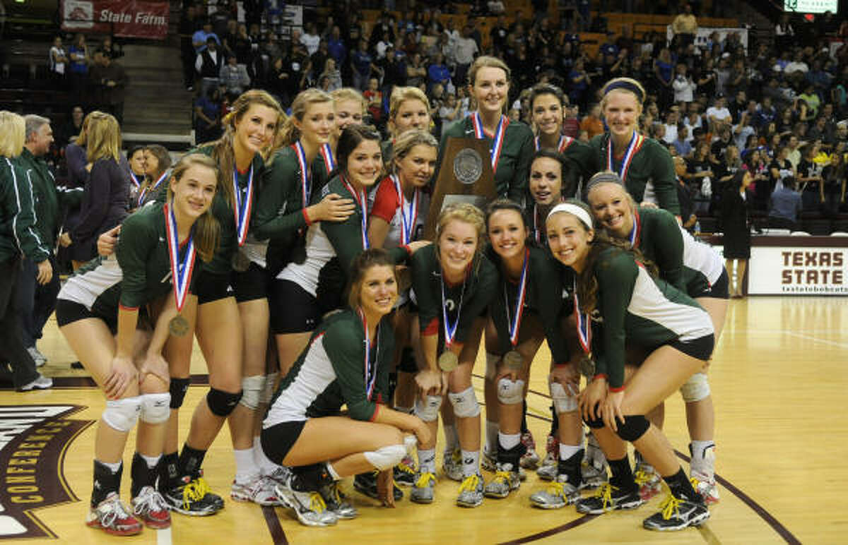 Hebron defeated The Woodlands 3-0. The Woodlands pose with their 5A state championship runner-up trophy.