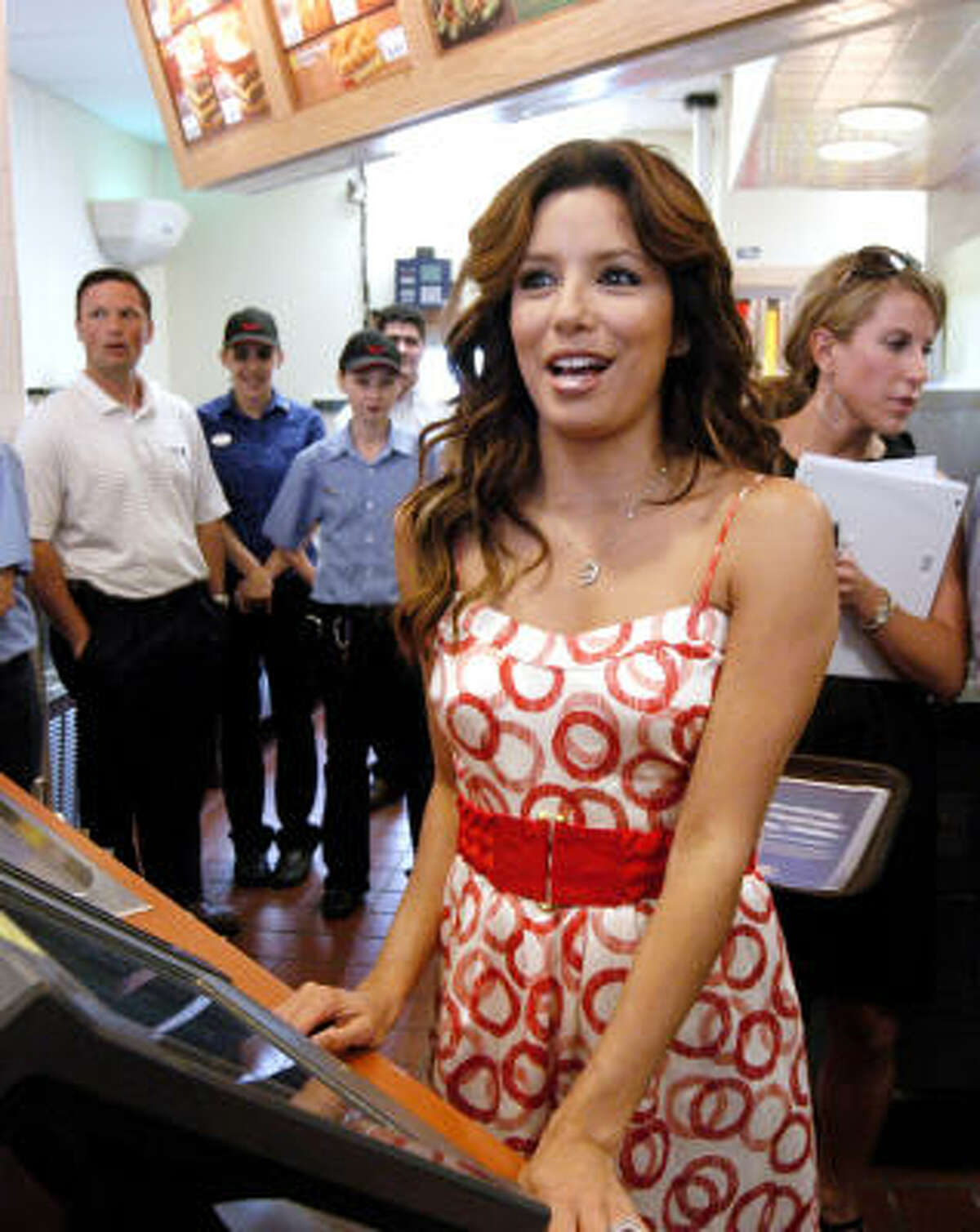 May 27, 2008: Longoria works at the Wendy's drive-thru in her hometown of Corpus Christi as part of the