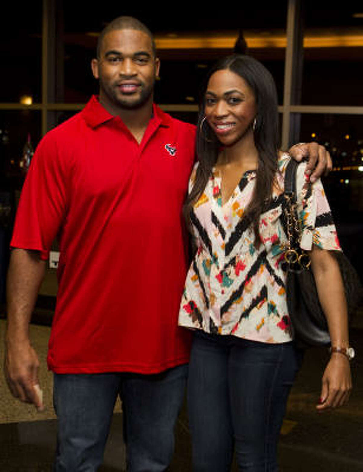 Houston Texans linebacker Darryl Sharpton and his wife Brittany.