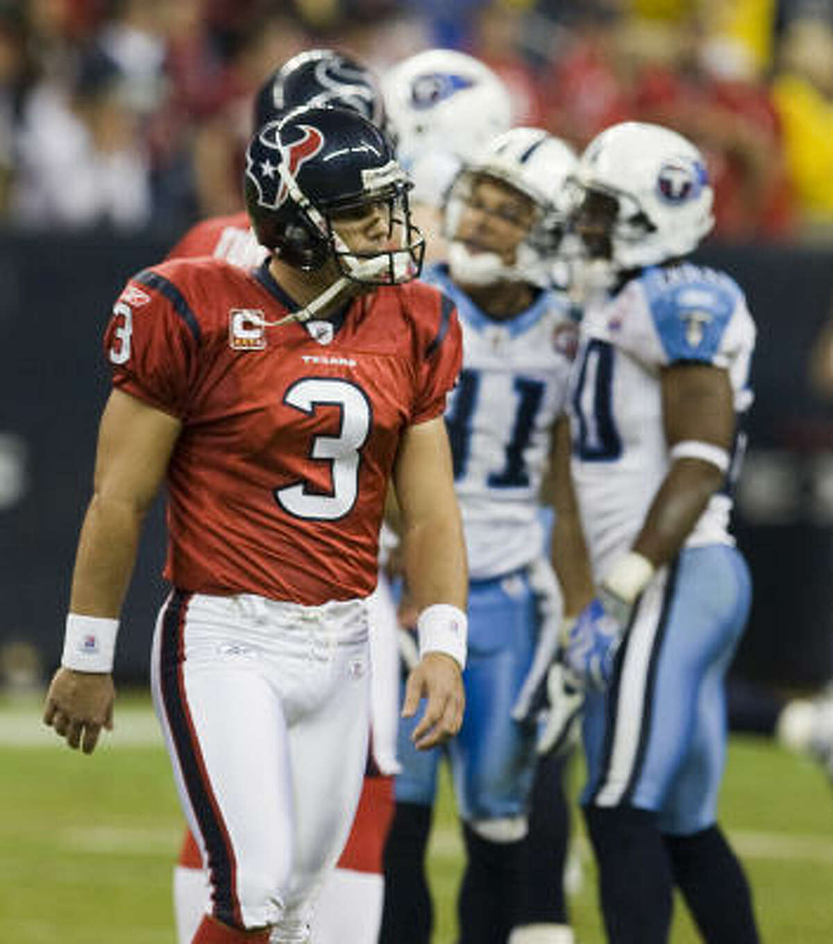 Nov. 23, 2009 Texans kicker Kris Brown misses a field goal in the final seconds that would have tied the score during the fourth quarter against the Titans on Monday Night Football. The Titans beat the Texans 20-17.