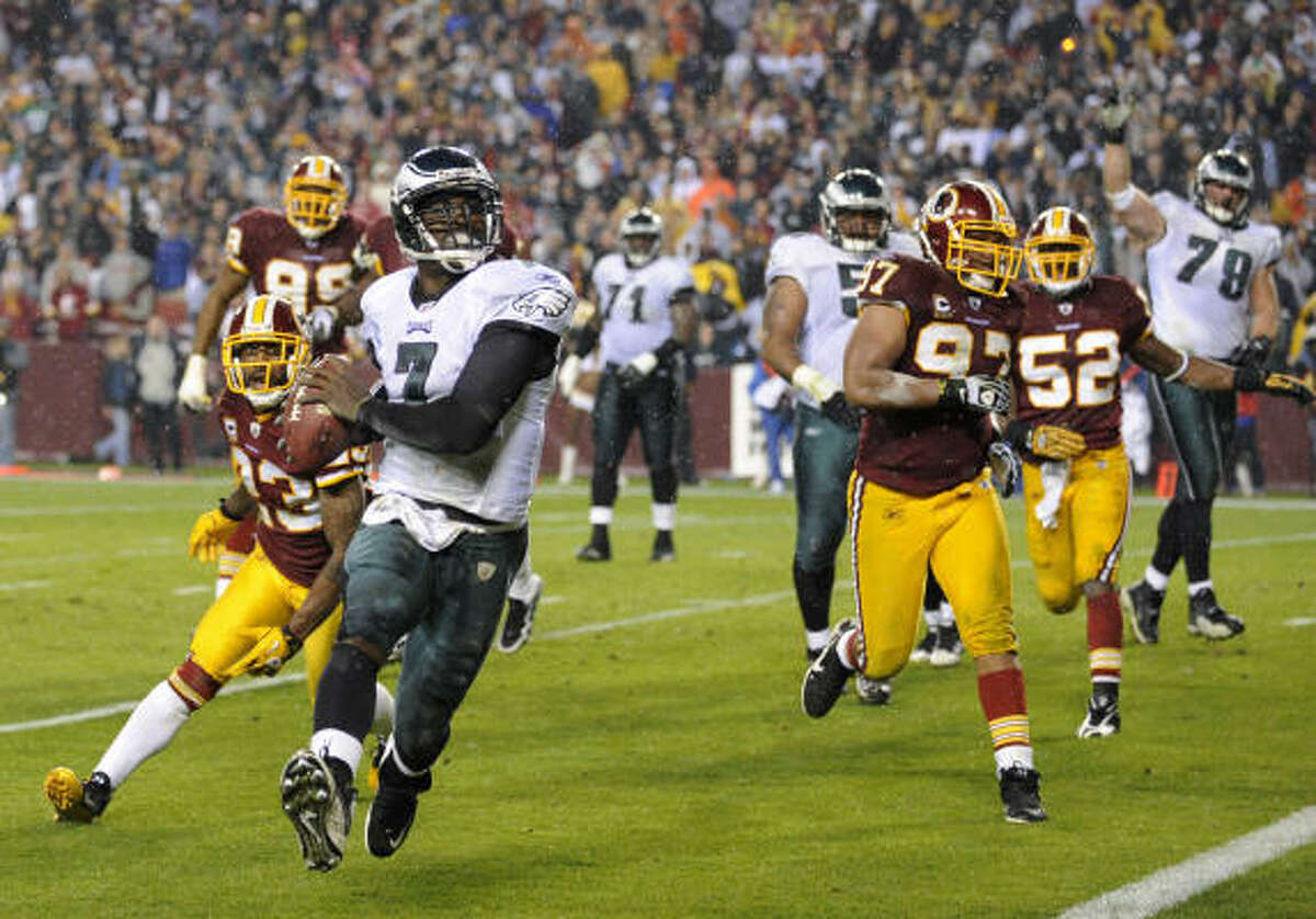 Nov. 15: Eagles 59, Redskins 28 Eagles quarterback Michael Vick accounted for six touchdowns on Monday night, four passing and two rushing.