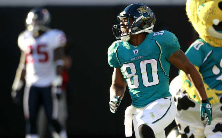 Nov. 14: Jaguars 31, Texans 24Jaguars wide receiver Mike Thomas celebrates after catching a 50-yard touchdown reception on the final play of regulation to propel Jacksonville to victory. Photo: Brett Coomer, Chronicle