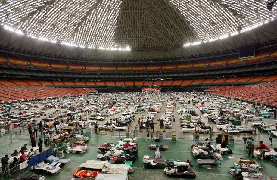 Evacuees filled the Astrodome a few days after Hurricane Katrina hit New Orleans. On the five-year anniversary of the storm, two studies indicated that New Orleans residents are feeling positive about the direction in which their city is headed. Photo: MENAHEM KAHANA, AFP/Getty Images
