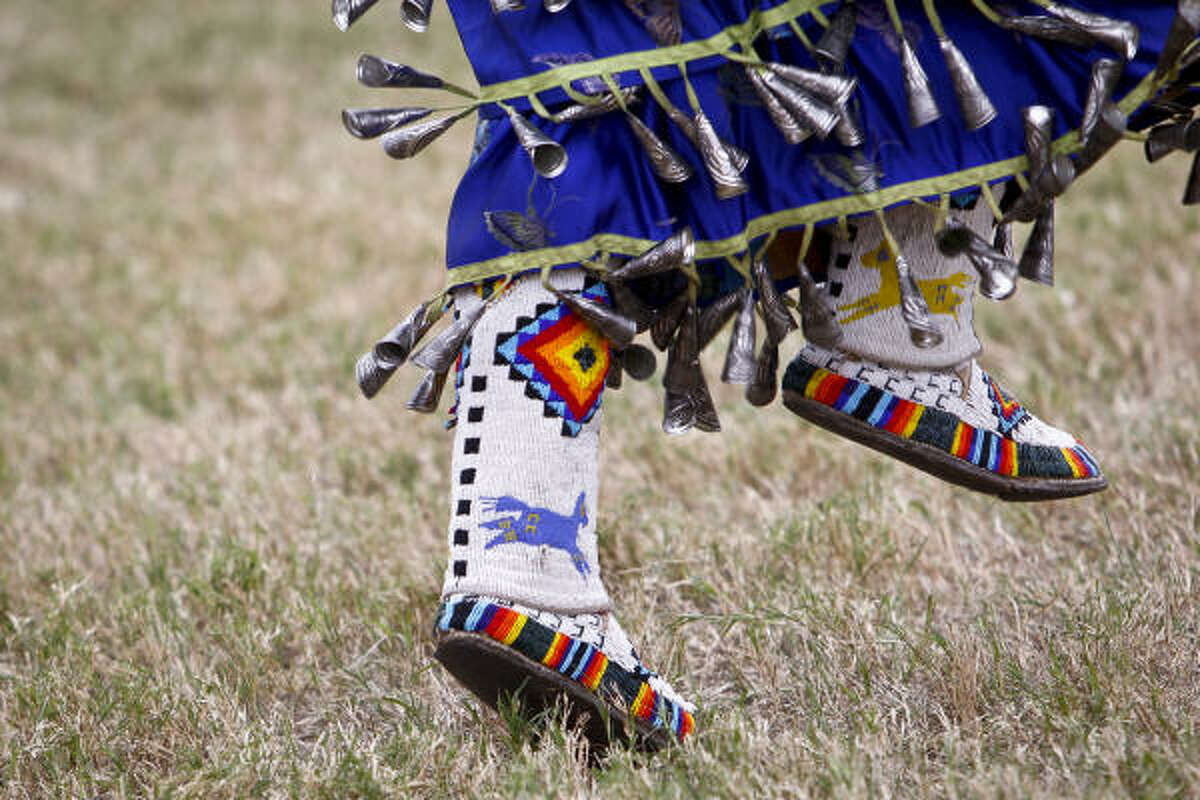 A performer's costume during the Women's Jingle dace during the 21st Annual Texas Championship Pow-wow at Traders Village in Houston.