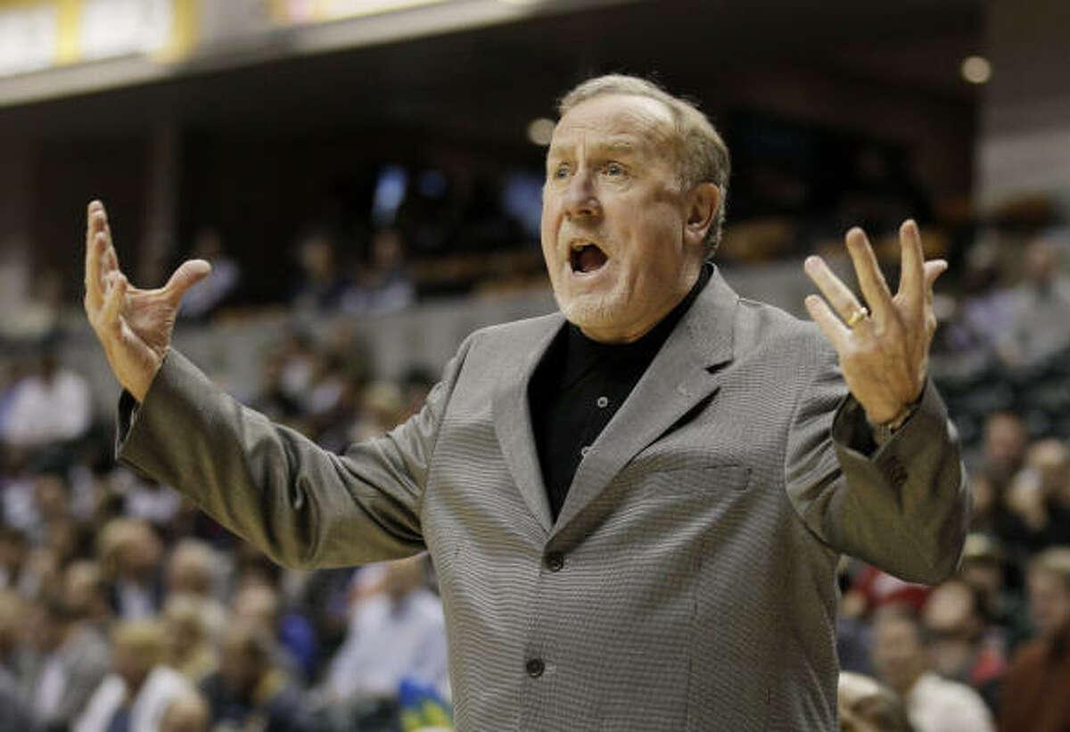 Rockets coach Rick Adelman argues a call during the first quarter.