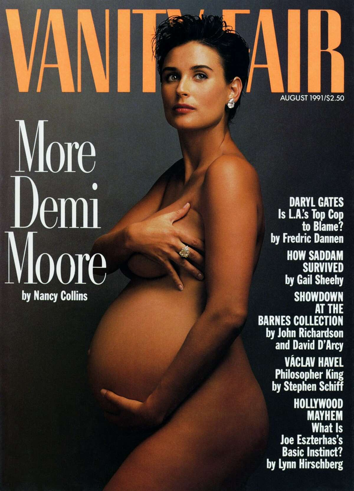 Demi Moore When Moore posed nude and seven months pregnant on the cover of Vanity Fair in 1991 it was shocking to see a sex-symbol like Demi pregnant.