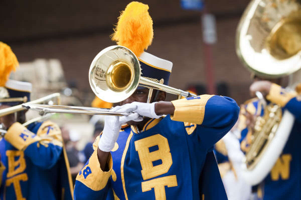 The Booker T. Washington High School band marches in the annual