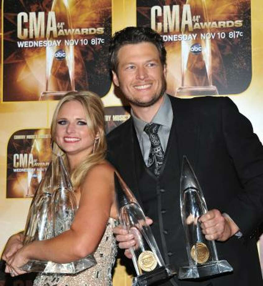 It was quite a date night for Miranda Lambert and fiance Blake Shelton. Both scored CMA awards. Photo: Evan Agostini, AP