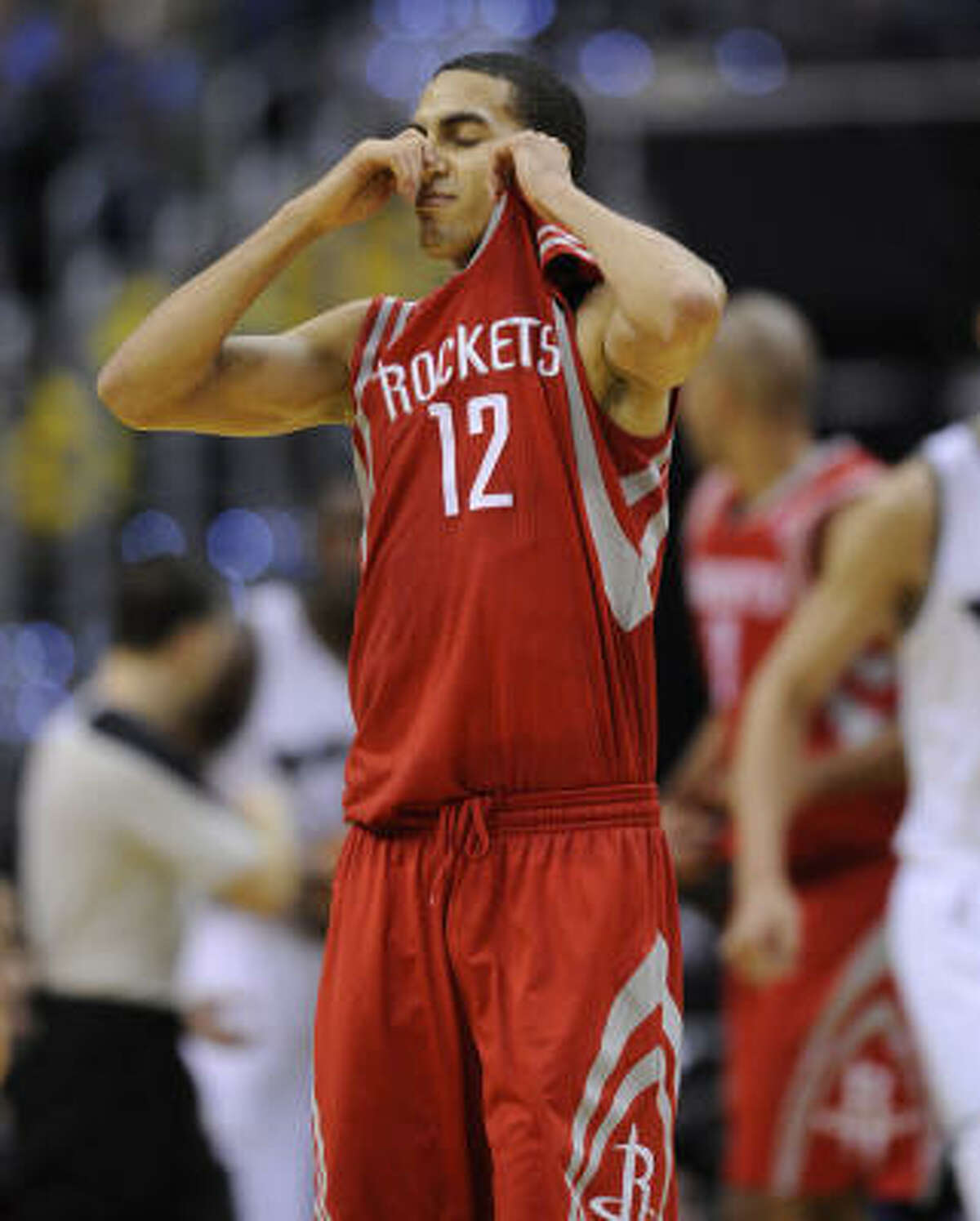Rockets guard Kevin Martin shows his frustration after committing a turnover in the second half. He scored a game-high 31 points, but it wasn't enough to help the Rockets claim their first road victory.