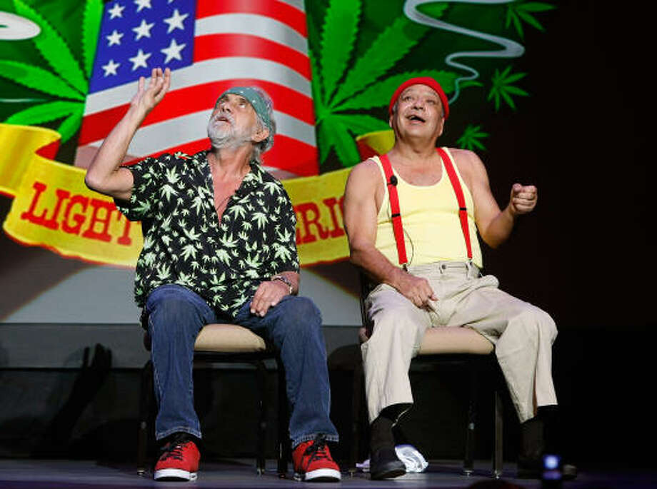 Tommy Chong, left, and Cheech Marin of the comedy duo Cheech & Chong are probably the most well-known stoners, both on and off stage. They've even joined the political debate on the subject. Photo: Ethan Miller, Getty Images