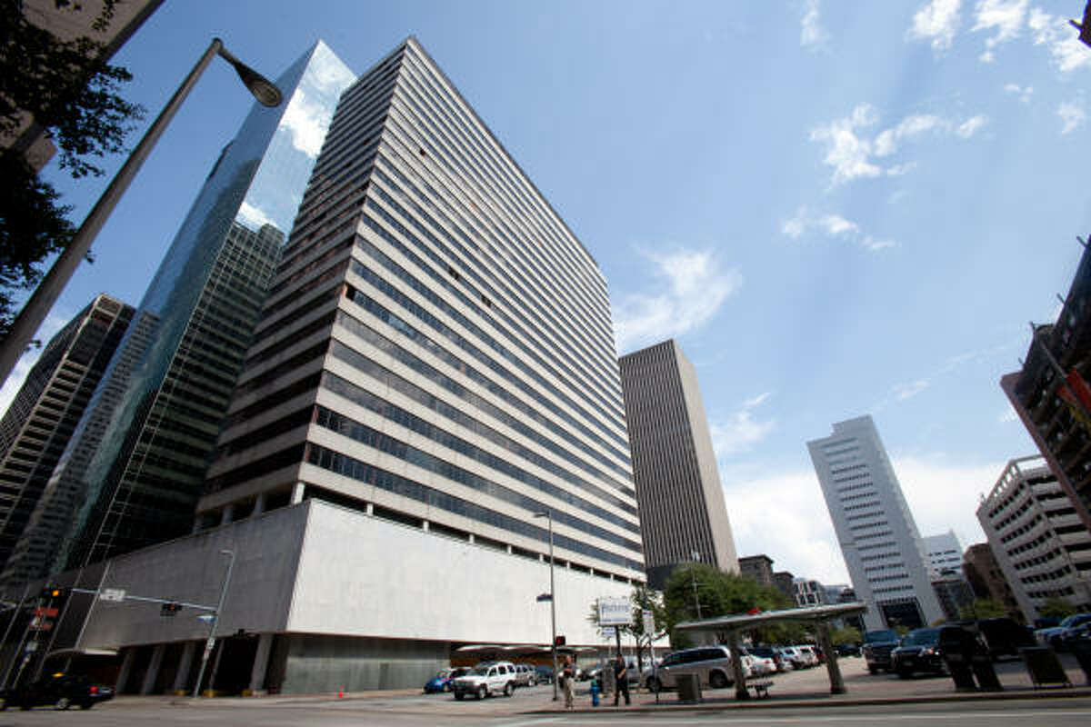 This abandoned building, formerly known as the Sheraton Hotel, at 711 Polk has been purchased by Brookfield Office Properties, which plans to tear it down.