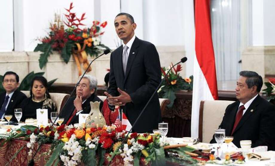 President Obama is visiting Indonesia, where he reflected on his own upbringing in the country (he lived there for four years in elementary school) and America's relationship with Muslims worldwide. Photo: Charles Dharapak, AP