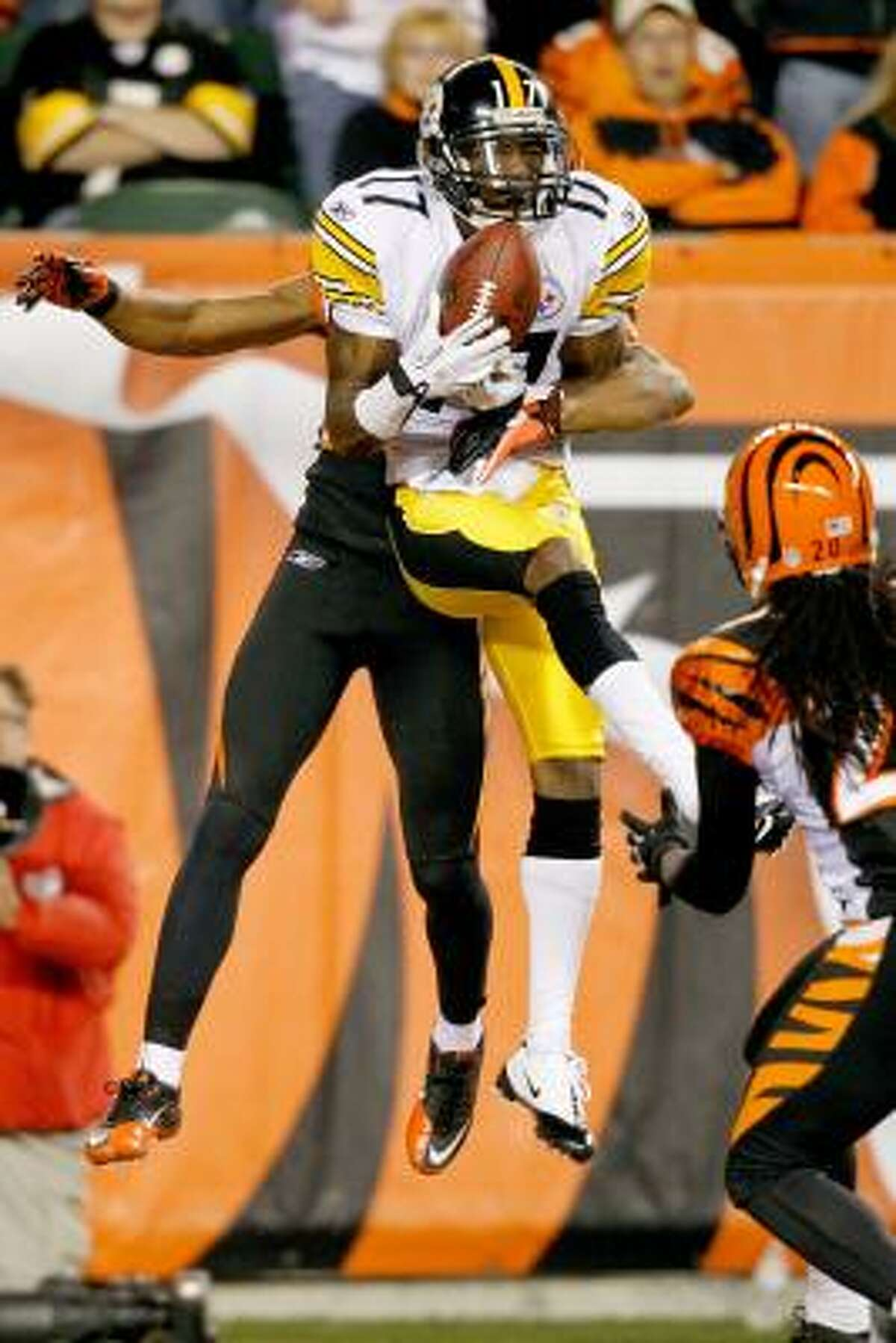 Nov. 8: Steelers 27, Bengals 21 Steelers receiver Mike Wallace catches a pass for a touchdown against Bengals cornerback Leon Hall.