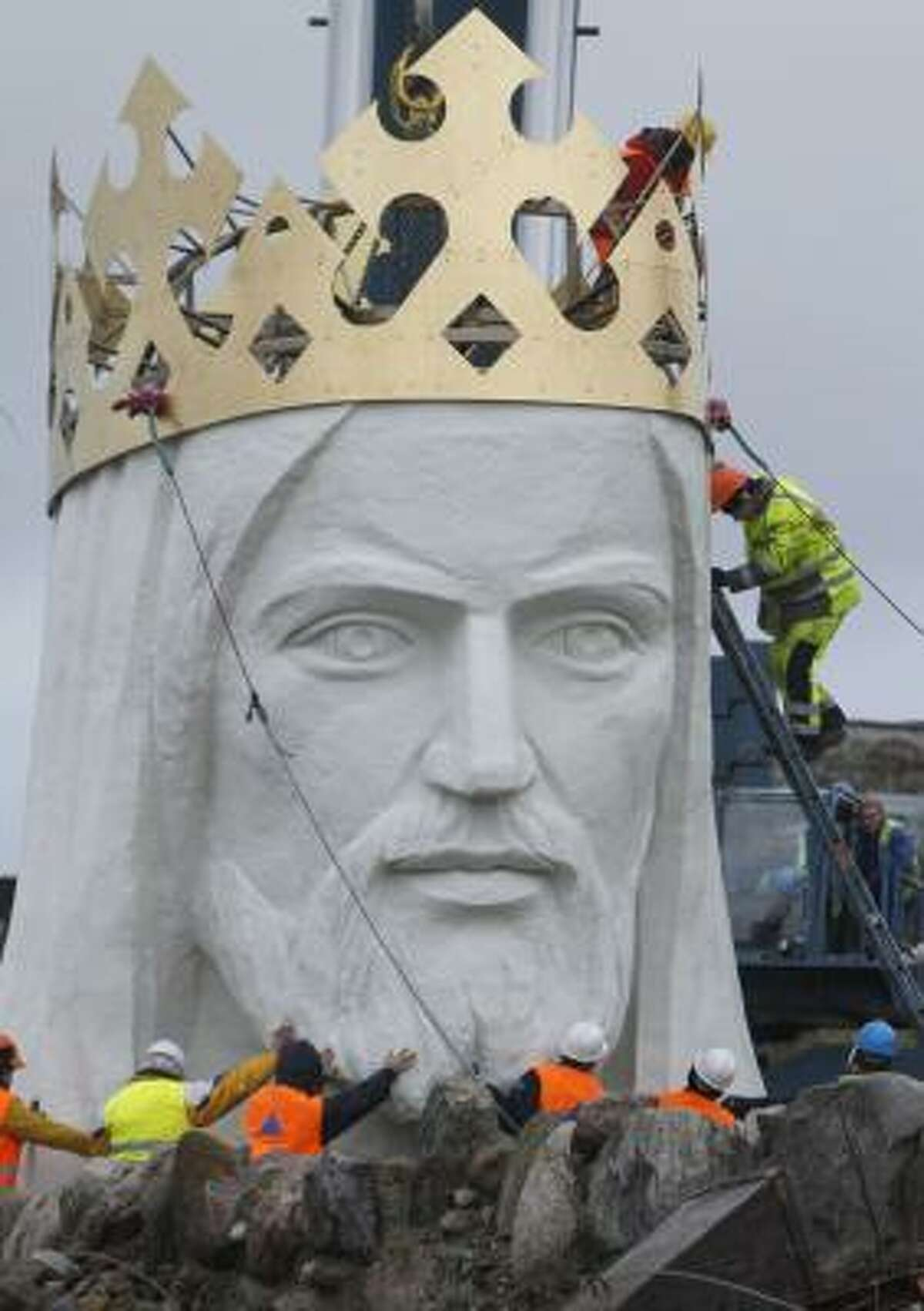 The world's biggest statue of Jesus Christ went up in Western Poland over the weekend.