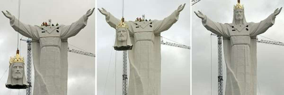 The 167-foot-tall statue of Christ the King is meant to serve as a landmark for Roman Catholic pilgrims the city of Swiebodzin.