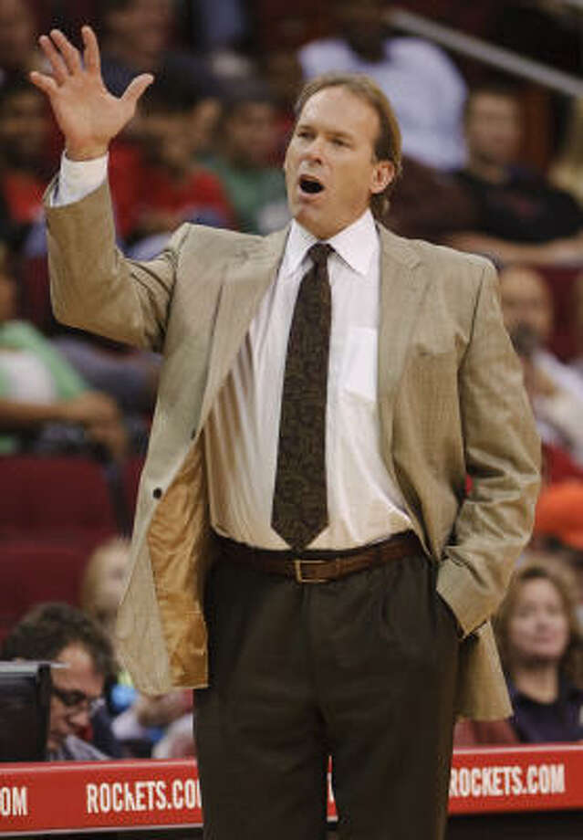 Timberwolves coach Kurt Rambis reacts to a call during the first quarter. Photo: Dave Einsel, AP
