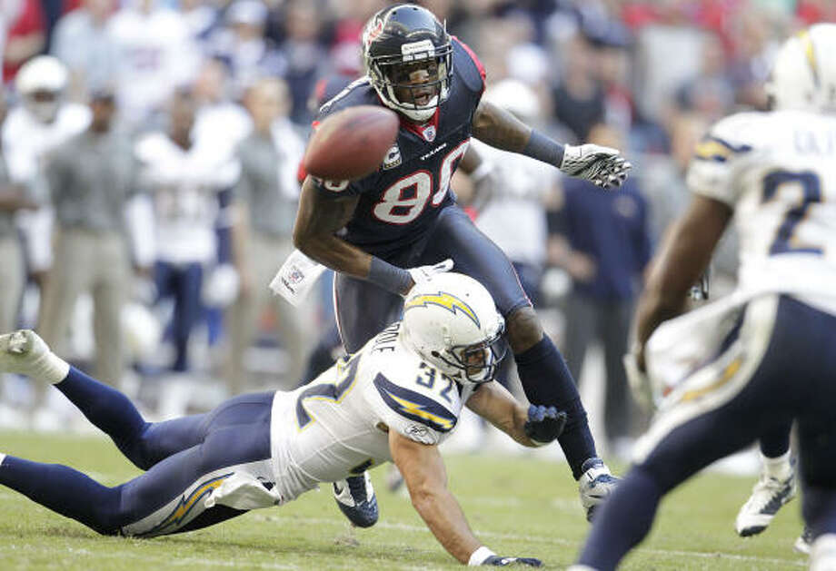 Nov. 7: Chargers 29, Texans 23 Texans wide receiver Andre Johnson (80) watches as a ball intended for him ends up being intercepted by San Diego's Paul Oliver with less than two minutes left in the fourth quarter. The interception killed the Texans' bid for a come-from-behind win. Photo: Karen Warren, Chronicle