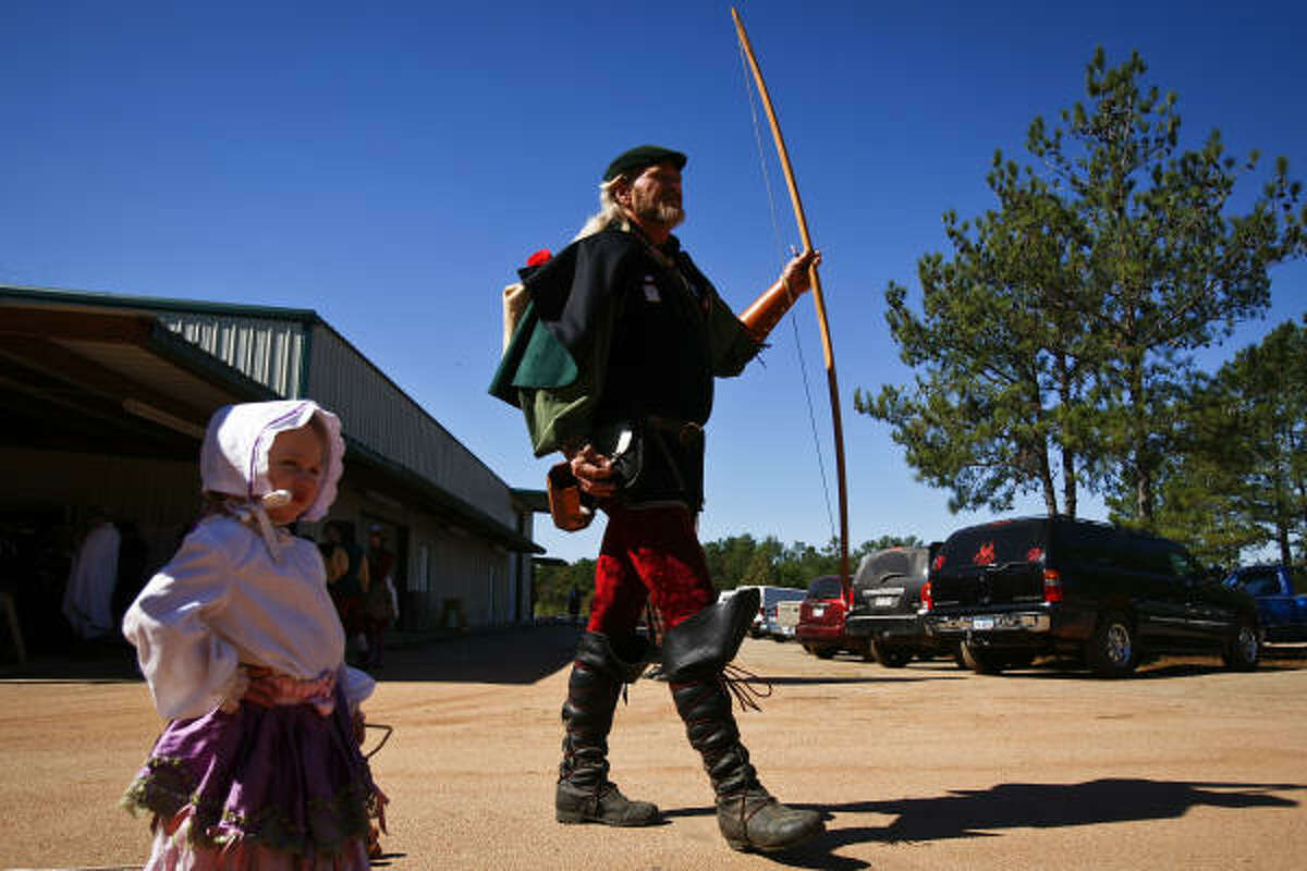 Performers get ready for the start of the Grand Parade at the Texas Renaissance Festival in Plantersville, Tx.