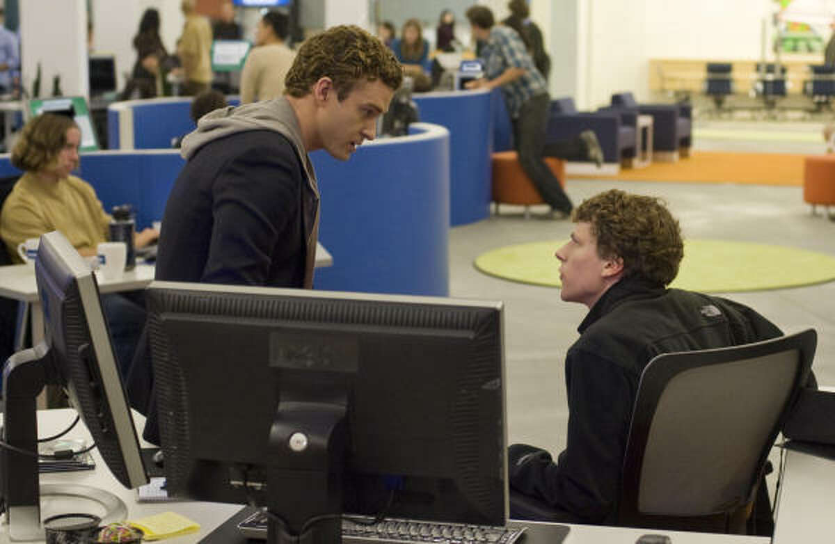 The Social Network , $3.6 million: Story about the founders of Facebook reveals dark aspects of human nature. Starring Justin Timberlake, left, and Jesse Eisenberg.
