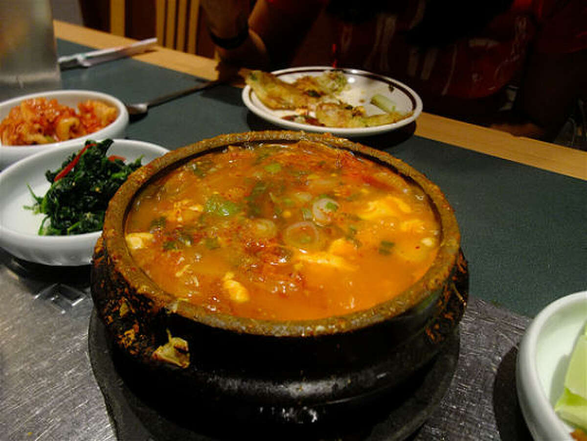 Soon dubu, a silky tofu stew, at Bon Ga Korean restaurant on Long Point. It's hot with red chile--but not lethally so.