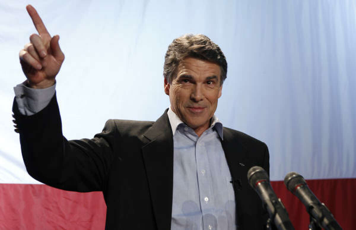 Texas Gov. Rick Perry speaks at his victory party in Buda, Texas.