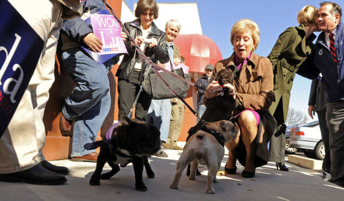 French bulldogs Roch, Honey and Sweetie greet Connecticut Republican U.S. Senate candidate Linda McMahon.