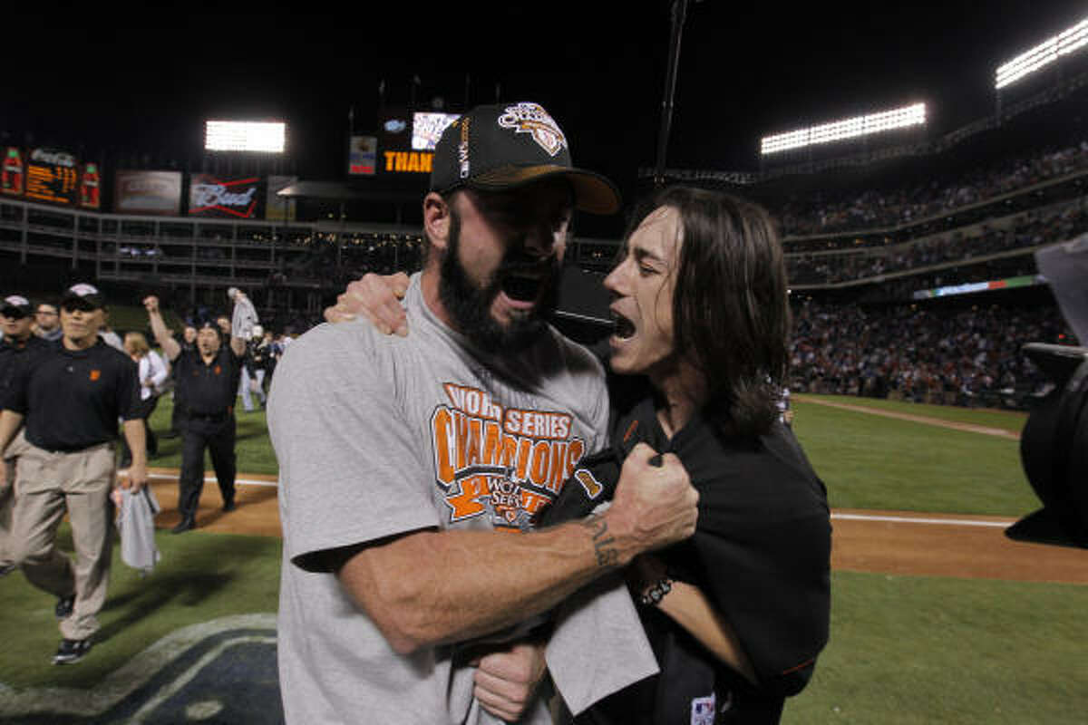 Brian Wilson and Tim Lincecum celebrate as the San Francisco Giants take game 5 to win the 2010 World Series.