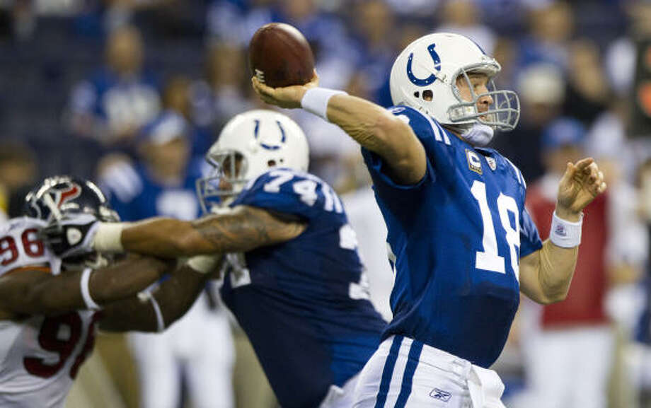 Nov. 1: Colts 30, Texans 17Colts quarterback Peyton Manning threw for 268 yards and two touchdowns. Photo: Brett Coomer, Chronicle