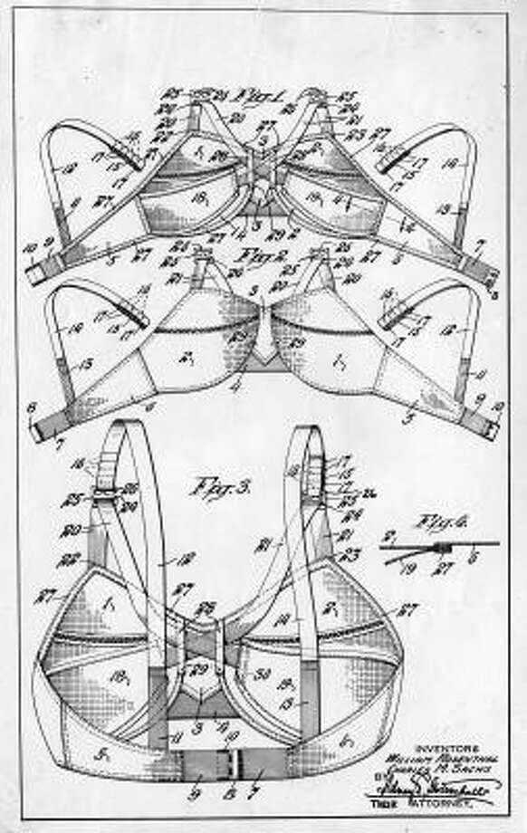 "What's glamour without function? This 1938 patent drawing showing the intricate detail of the Maidenform brassiere was part of an exhibit entitled ""Doodles, Drafts and Designs"" at the Smithsonian Institution in Washington. Photo: AP"