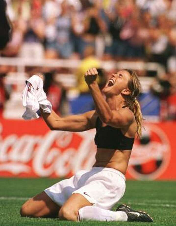 But even the sport bra can cause controversy. Brandi Chastain caused a stir at the Women's World Cup in the United States in 1999 when she removed her shirt in celebration of a title-winning victory over China to reveal a sports bra. Photo: LACY ATKINS, AP