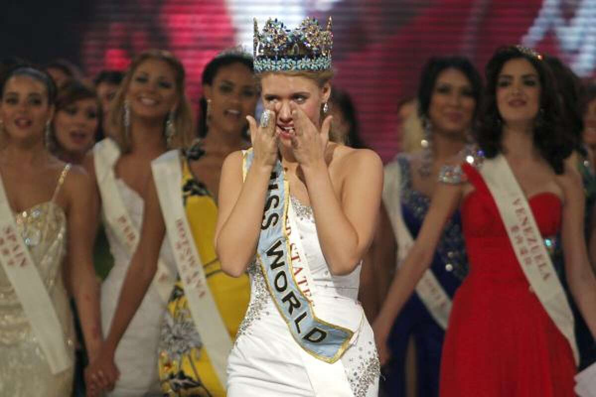 Alexandria Mills of Kentucky reacts after being crowned 2010 Miss World on Saturday.