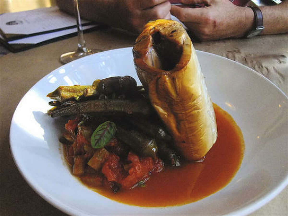 Hay-smoked Gulf mackerel with pan-roasted okra & tomato, Bootsie's Heritage Cafe in Tomball.