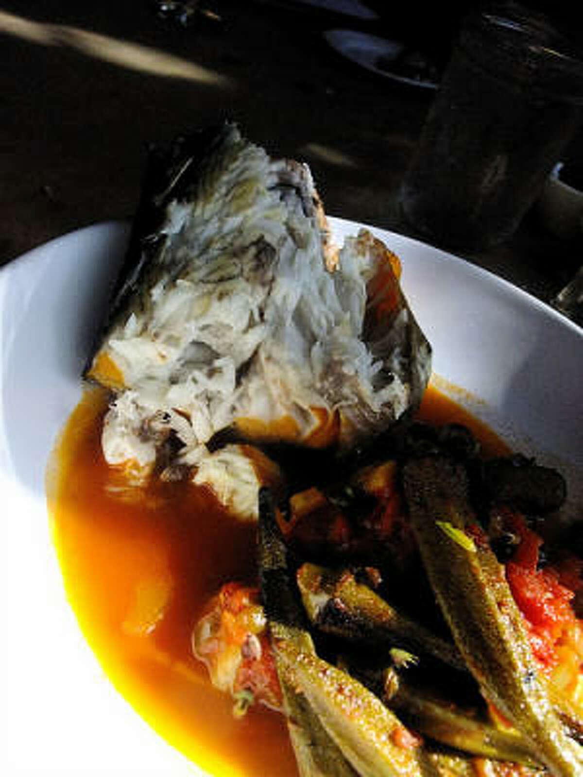 Hay-smoked Gulf mackerel with pan-roasted okra & tomato, Bootsie's Heritage Cafe, Tomball.
