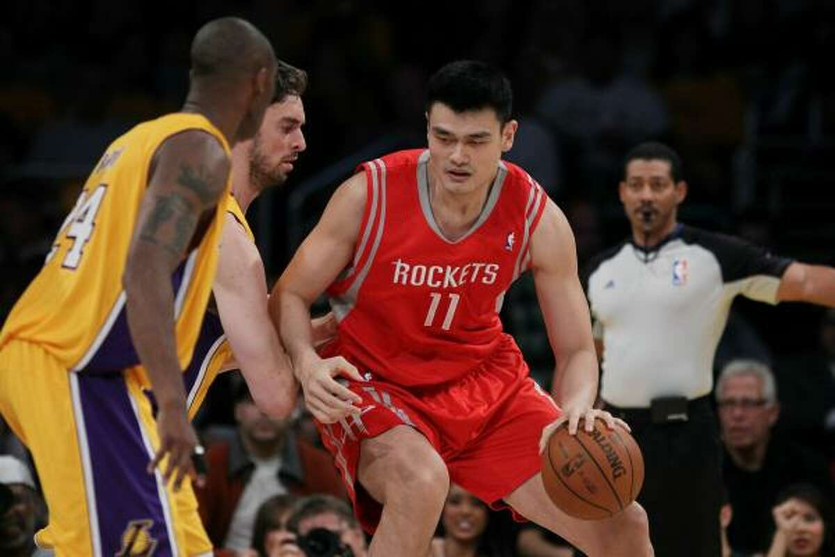 Rockets center Yao Ming fouled out after scoring nine points in 23 minutes in Tuesday night's loss.