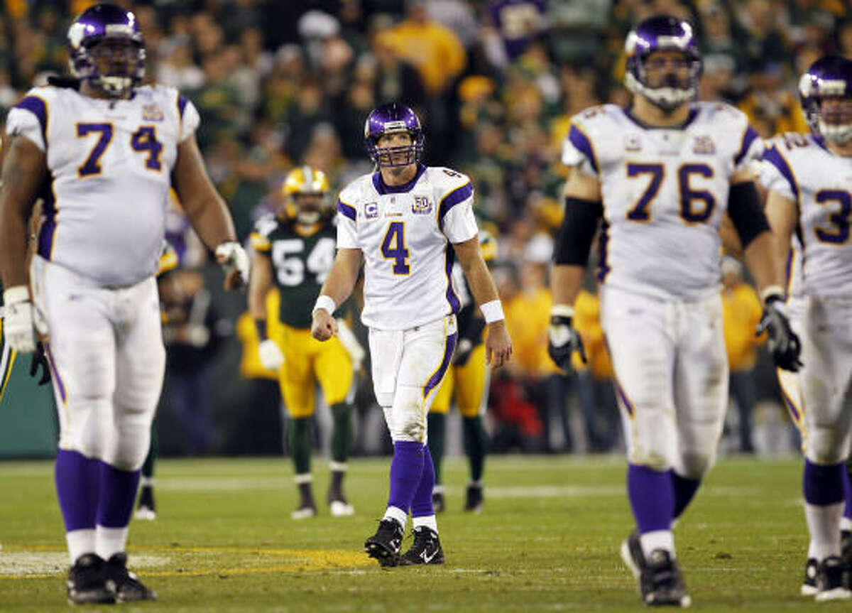 Oct. 24: Packers 28, Vikings 24 Vikings quarterback Brett Favre reacts to an offensive pass interference call on Randy Moss.