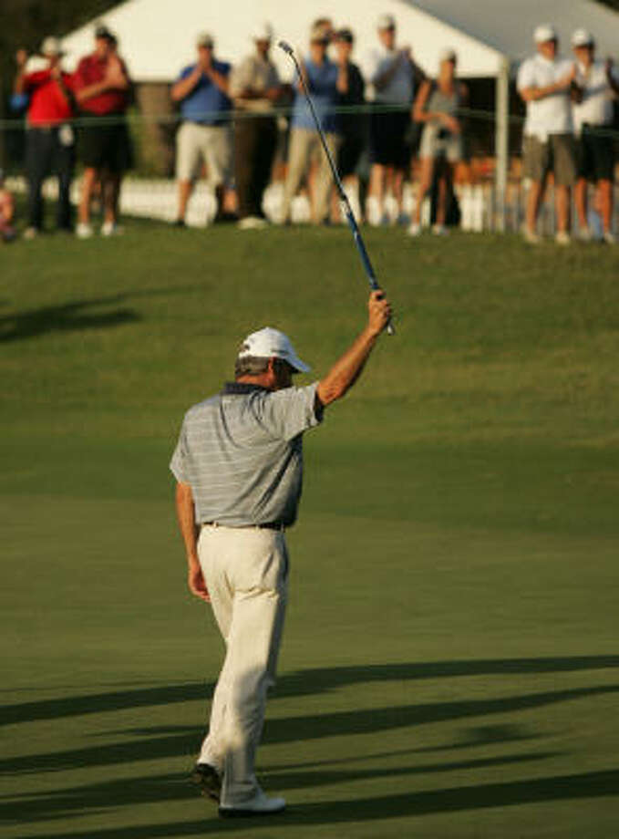 Fred Couples acknowledges the gallery following his victory. Photo: ERIC CHRISTIAN SMITH, For The Chronicle