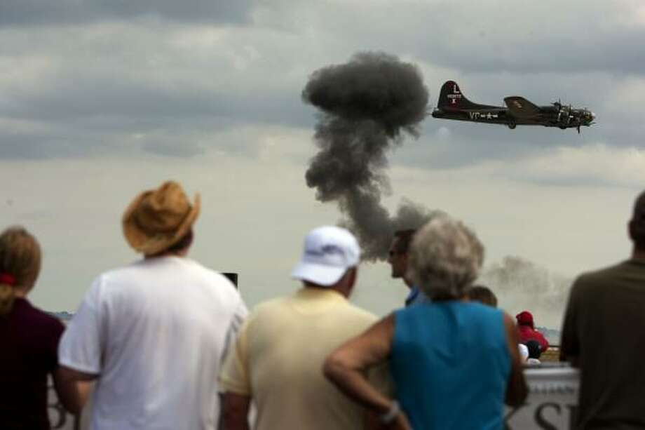A B-17 Flying Fortress performs during the 26th annual Wings Over Houston Airshow. Photo: Johnny Hanson, Houston Chronicle